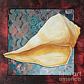 Coastal Decorative Shell Art Original Painting Sand Dollars ASIAN INFLUENCE II by Megan Duncanson Poster by Megan Duncanson