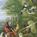 Cock pheasant hen pheasant and chicks and other birds in a classical landscape by Pieter Casteels