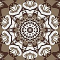 Coffee Flowers 10 Ornate Medallion Print by Angelina Vick