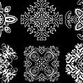 Coffee Flowers Ornate Medallions BW 6 Peice Collage Print by Angelina Vick