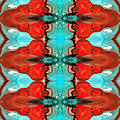 Color Chant - Red and Aqua Pattern Art By Sharon Cummings Print by Sharon Cummings