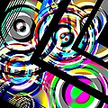 Colored Lines and Circles Art over Black Poster by Mario  Perez