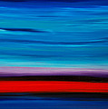 Colorful Shore - Blue And Red Abstract Painting Poster by Sharon Cummings
