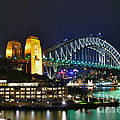 Colorful Sydney Harbour Bridge by Night Poster by Kaye Menner