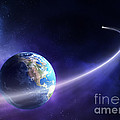 Comet moving past planet earth Print by Johan Swanepoel