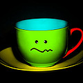 Confused Colorful Cup and Saucer Print by Natalie Kinnear