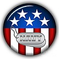 Cool Navy Insignia Print by Pamela Johnson