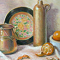 Copper Pot with Tangerines Print by Theresa Shelton