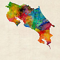 Costa Rica Watercolor Map Print by Michael Tompsett