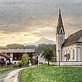 Country Church Print by Debra and Dave Vanderlaan