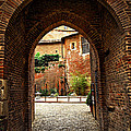Courtyard of Cathedral of Ste-Cecile in Albi France Print by Elena Elisseeva