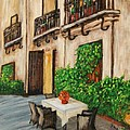 Courtyard Seating Poster by JoAnn Wheeler