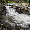 Covered Bridge and Waterfall Print by Edward Fielding