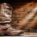 Cowboy Boots on Wood Floor Poster by Olivier Le Queinec