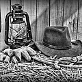 Cowboy Hat and Rodeo Lasso in a black and white Poster by Paul Ward