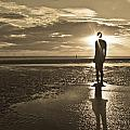 Crosby Beach Sepia Sunset Print by Paul Madden