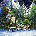 Cross-Country Santa Print by Lynn Bywaters