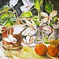 Cyclamen with Tangerines and Kiwi Poster by Vivian  Castillo M