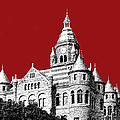 Dallas Skyline Old Red Courthouse - Dark Red Print by DB Artist