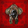 Dan Dean-Gle Mask of the Ivory Coast and Liberia on Red Leather Print by Serge Averbukh