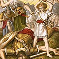 David Slaying Goliath Print by English School