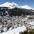 DAVOS PLATZ mountains parsenn and town Print by Andy Smy