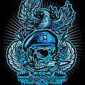 DCLA Skull Airborne All The Way Print by David Cook Los Angeles