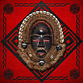 Dean Gle Mask by Dan People of the Ivory Coast and Liberia on Red Leather Print by Serge Averbukh