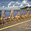 Deckchairs at Southend Poster by Sheila Smart