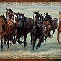 Deco Horses Print by JQ Licensing