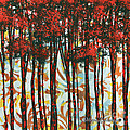 Decorative Abstract Floral Bird Landscape Painting FOREST OF DREAMS II by Megan Duncanson Poster by Megan Duncanson
