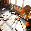Desk of a Clockmaker in Williamsburg Virginia Print by Artist and Photographer Laura Wrede