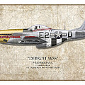 Detroit Miss P-51D Mustang - Map Background Print by Craig Tinder