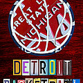 Detroit Pistons Basketball Vintage License Plate Art Poster by Design Turnpike