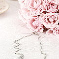 Diamond Necklace and Pink Roses Poster by Stephanie Frey