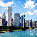 Digitial Painting of Downtown Chicago Skyline Print by Paul Velgos
