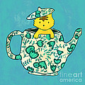 Dinnerware sets kitten in a teapot Print by Budi Satria Kwan
