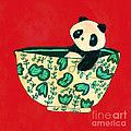 Dinnerware sets Panda in a bowl Poster by Budi Satria Kwan