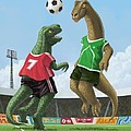 dinosaur football sport game Poster by Martin Davey