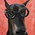 Doberman with Glasses Print by Loopylolly