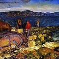 Dock Builders Print by George Wesley Bellows