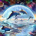 Dolphins by Moonlight Print by Adrian Chesterman