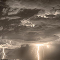 Double Lightning Strikes in Sepia HDR Print by James BO  Insogna
