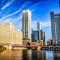 Downtown Chicago at Franklin Street Bridge Picture Print by Paul Velgos
