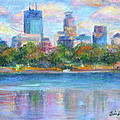 Downtown Minneapolis Skyline from Lake Calhoun Poster by Quin Sweetman