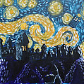 Dr Who Hogwarts Starry Night Poster by Jera Sky