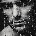 Dramatic portrait of man wet face Black and white Print by Oleksiy Maksymenko
