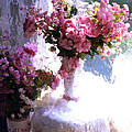 Dreamy Cottage Chic Impressionistic FLowers - Pink Roses Pink Vases Print by Kathy Fornal
