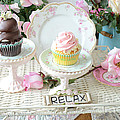 Dreamy Shabby Chic Pink and Chocolate Cupcakes Vintage Romantic Food and Floral Photography Print by Kathy Fornal