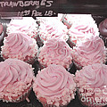 Dreamy Shabby Chic Pink Strawberry Cupcakes - Cottage Pink Cupcakes Food Photography  Print by Kathy Fornal